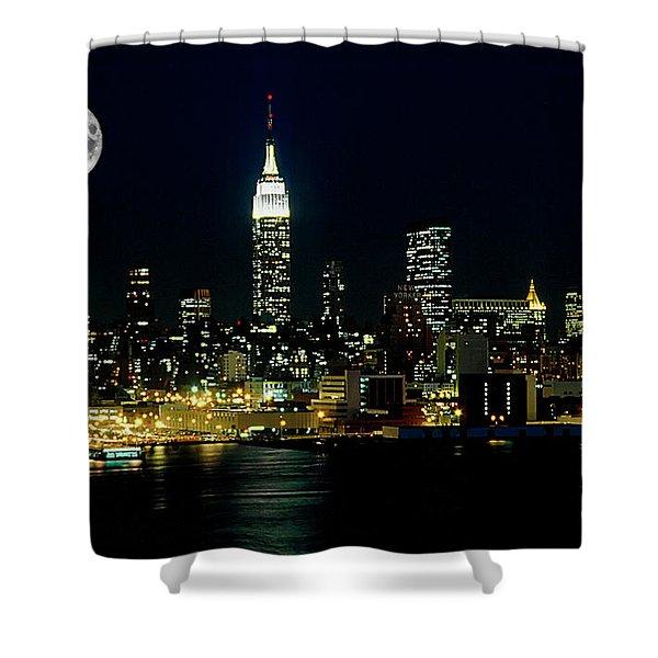 Full Moon Rising - New York City Shower Curtain
