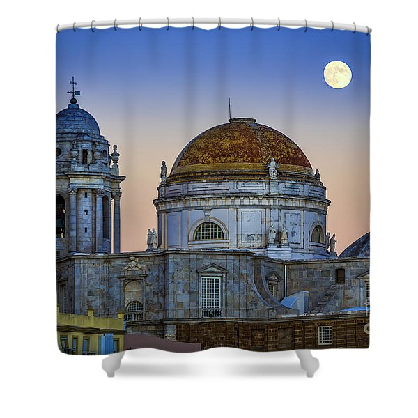 Full Moon Rising Over The Cathedral Cadiz Spain Shower Curtain