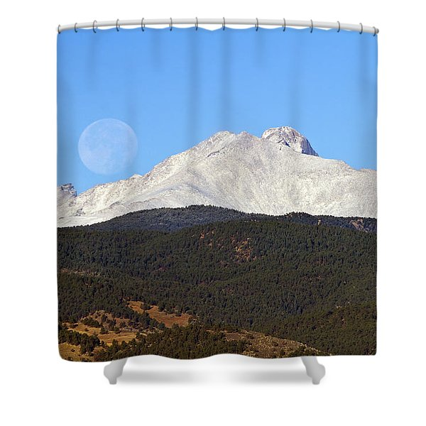 Full Moon Setting Over Snow Covered Twin Peaks  Shower Curtain