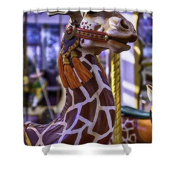 Fun Giraffe Carousel Ride Shower Curtain
