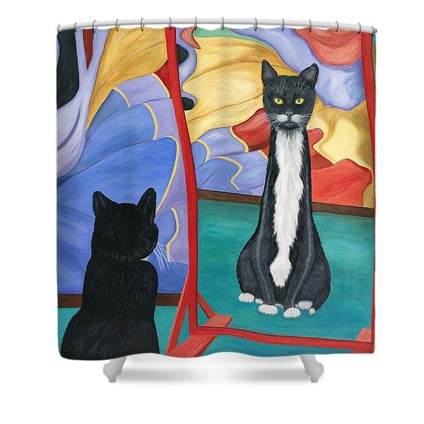 Fun House Skinny Cat Shower Curtain