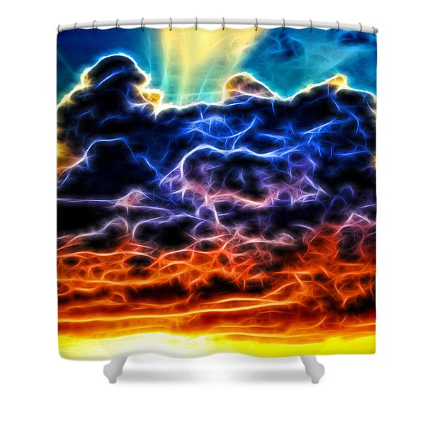 Funky Glowing Electrified Rainbow Clouds Abstract Shower Curtain