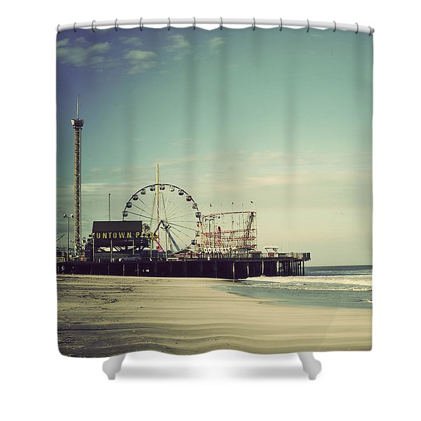 Funtown Pier Seaside Heights New Jersey Vintage Shower Curtain