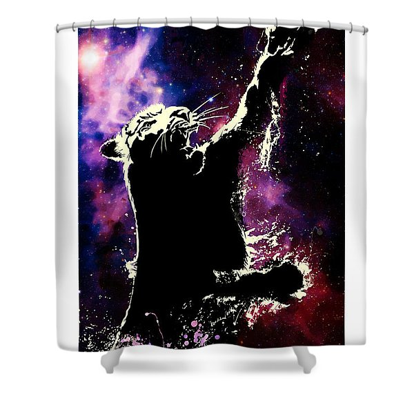 Galactic Tiger Shower Curtain