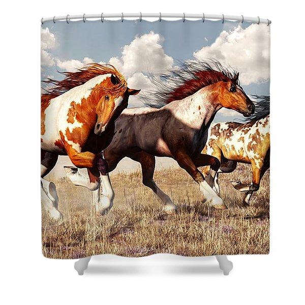 Galloping Mustangs Shower Curtain