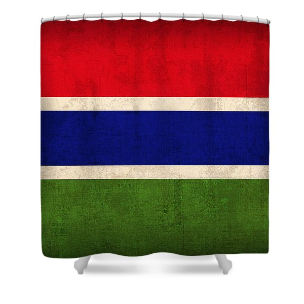 Gambia Flag Vintage Distressed Finish Shower Curtain
