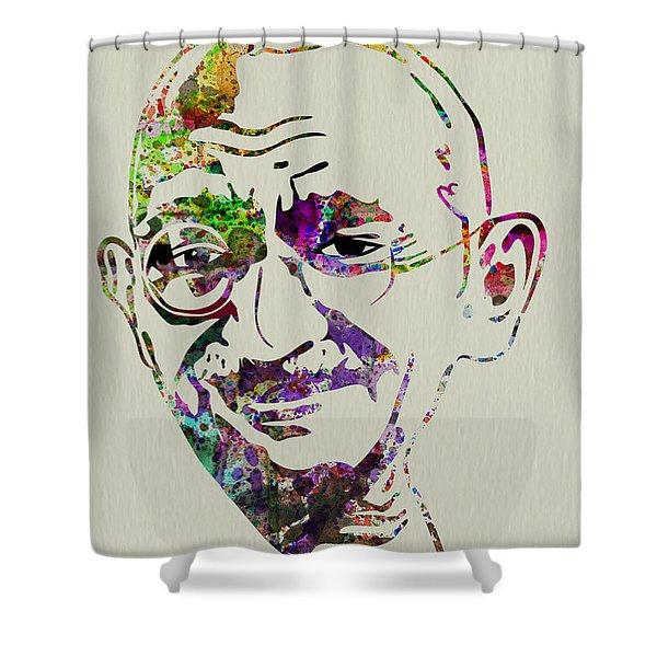 Gandhi Watercolor Shower Curtain