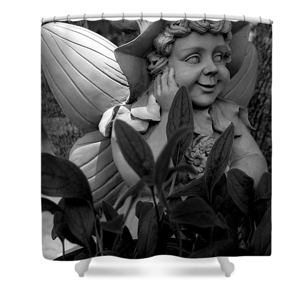 Garden Fairy Statue Shower Curtain