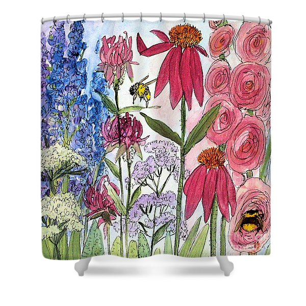 Garden Flower And Bees Shower Curtain
