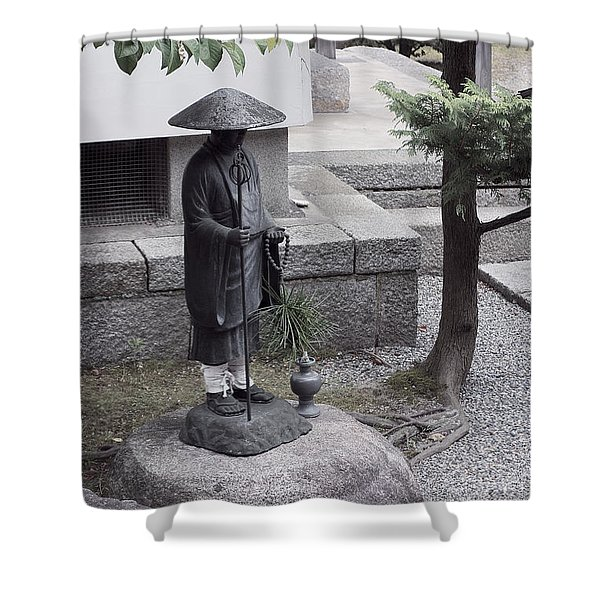Zen Temple Garden Monk - Kyoto Japan Shower Curtain