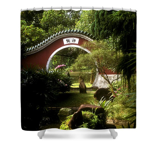 Garden Moon Gate 21e Shower Curtain