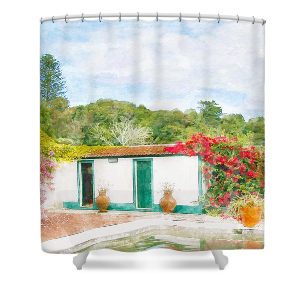 Garden Watercolor Painting Shower Curtain