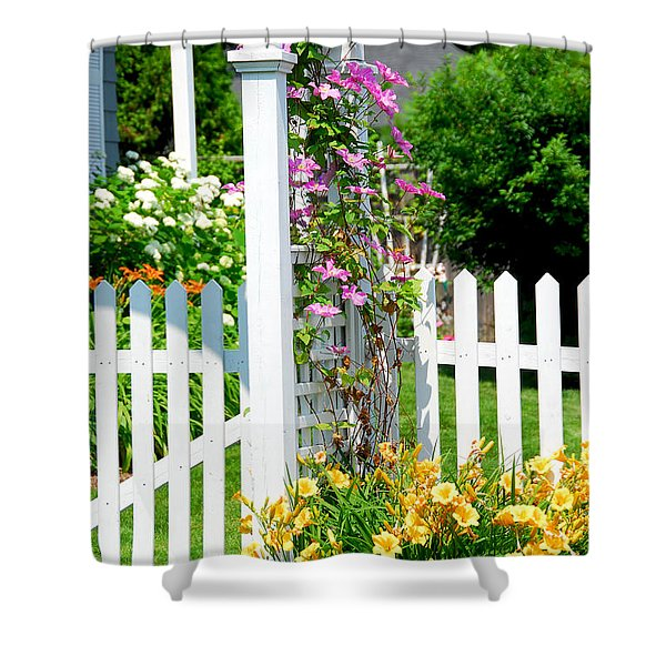 Garden With Picket Fence Shower Curtain
