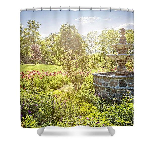 Garden With Stone Fountain Shower Curtain
