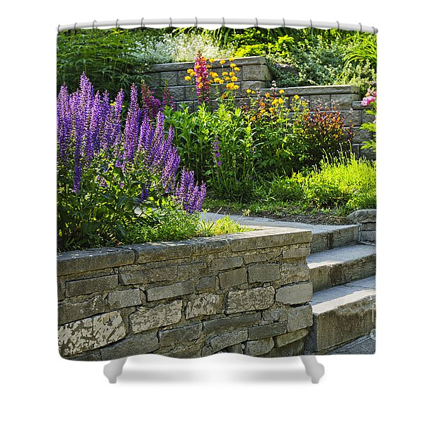 Garden With Stone Landscaping Shower Curtain