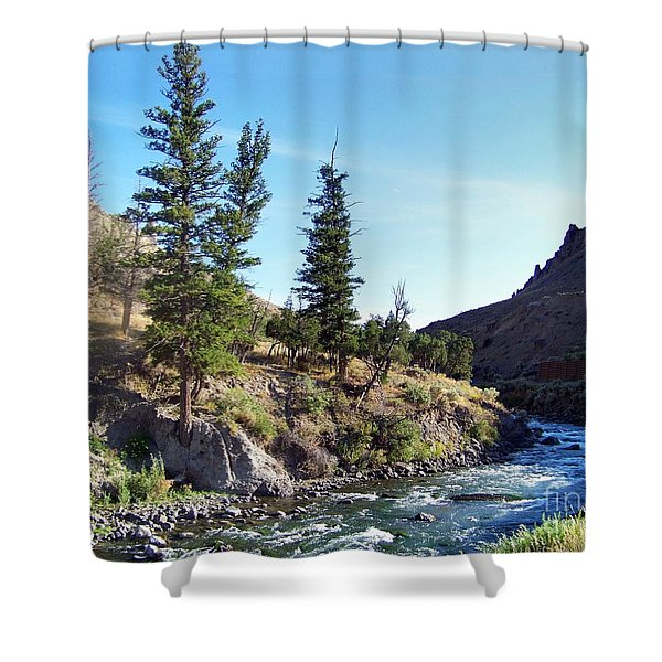 Shower Curtain featuring the photograph Gardiner River by Charles Robinson