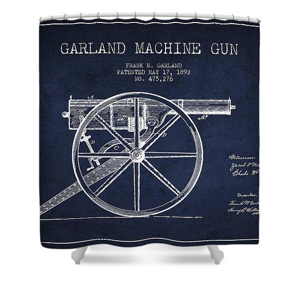Garland Machine Gun Patent Drawing From 1892 - Navy Blue Shower Curtain