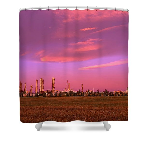 Gas Plant At Sunrise, Inter Pipeline Shower Curtain