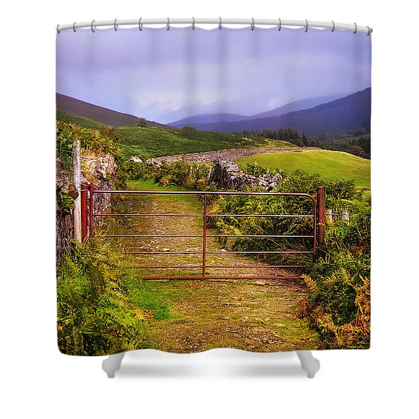 Gates On The Road. Wicklow Hills. Ireland Shower Curtain