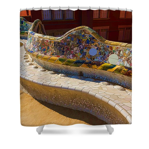 Gaudi's Park Guell Sinuous Curves - Impressions Of Barcelona Shower Curtain