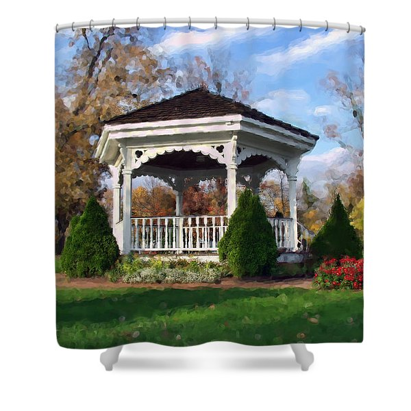 Gazebo At Olmsted Falls - 1 Shower Curtain