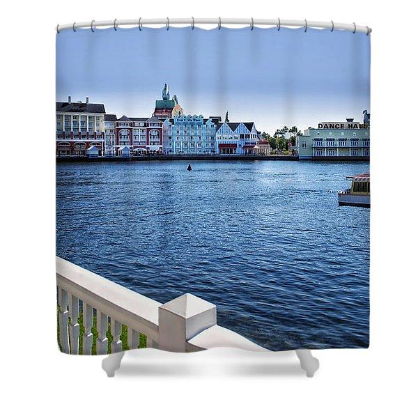 Gazebo View Of The Boardwalk Walt Disney World Shower Curtain
