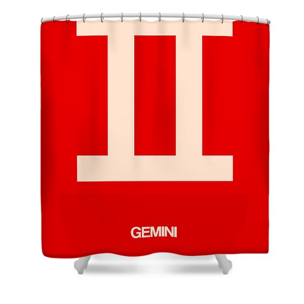 Gemini Zodiac Sign White On Red Shower Curtain