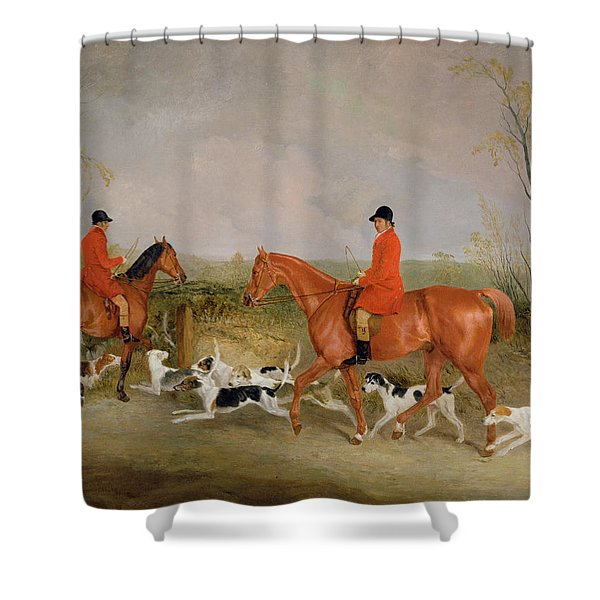 George Mountford, Huntsman To The Quorn, And W. Derry, Whipper-in, At John Ogaunts Gorse, Nr Melton Shower Curtain