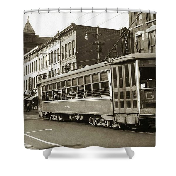 Georgetown Trolley E Market St Wilkes Barre Pa By City Hall Mid 1900s Shower Curtain