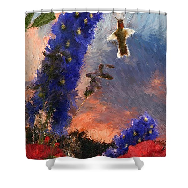 Geraniums Red And Delphiniums Blue Shower Curtain