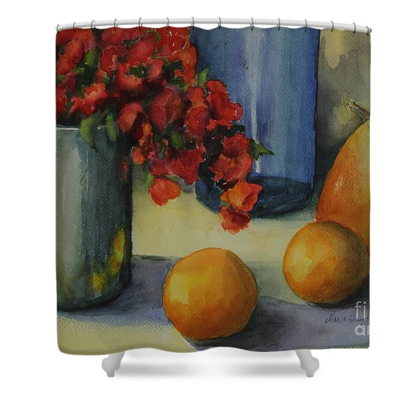 Geraniums With Pear And Oranges Shower Curtain