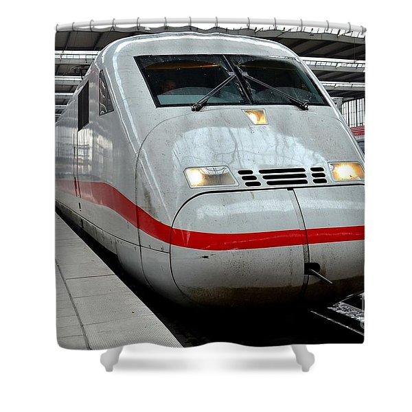 German Ice Intercity Bullet Train Munich Germany Shower Curtain