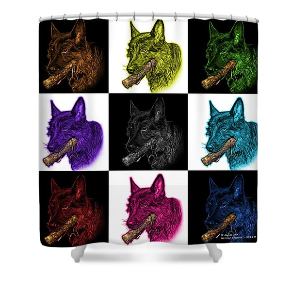 German Shepherd And Toy Mosaic - 0745 F V1 Shower Curtain