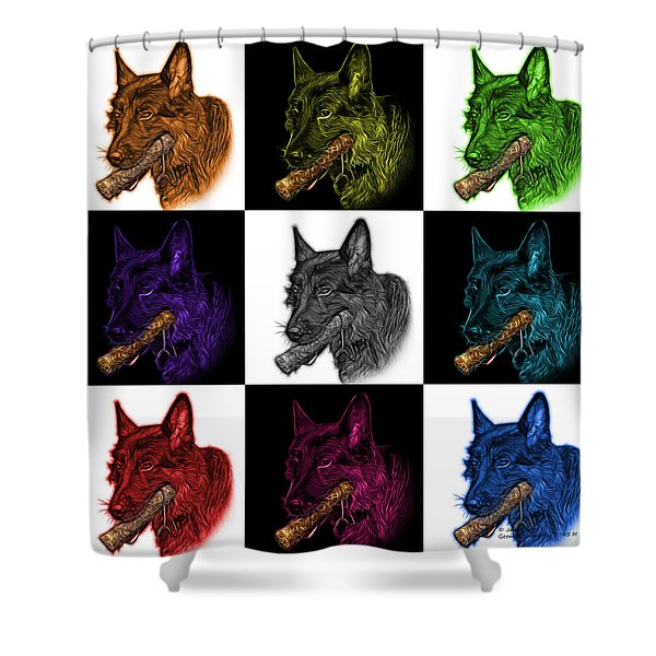 German Shepherd And Toy Mosaic - 0745 F V2 Shower Curtain