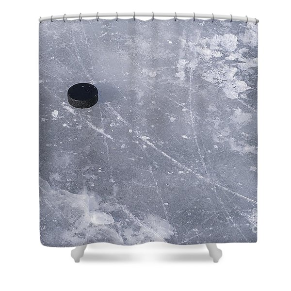 Get The Puck Outta Here Shower Curtain