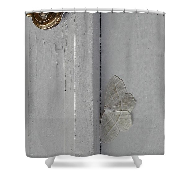 Ghost Doorbell Moth Shower Curtain
