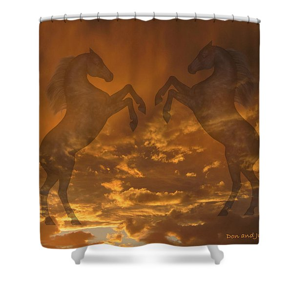 Ghost Horses At Sunset Shower Curtain