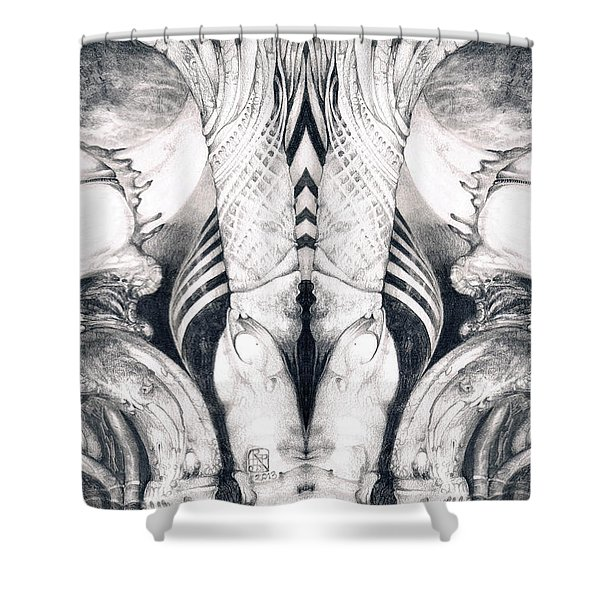 Ghost In The Machine - Detail Mirrored Shower Curtain