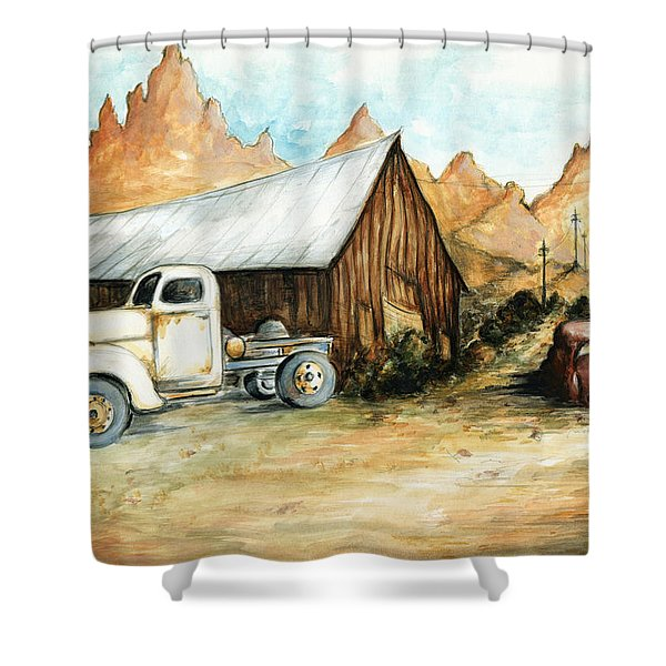 Ghost Town Nevada - Western Art Painting Shower Curtain
