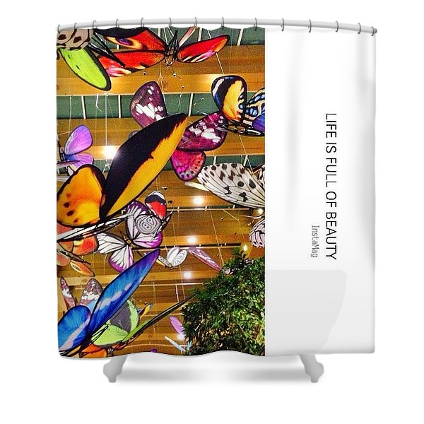 Giant Butterfly Statues Floating Shower Curtain