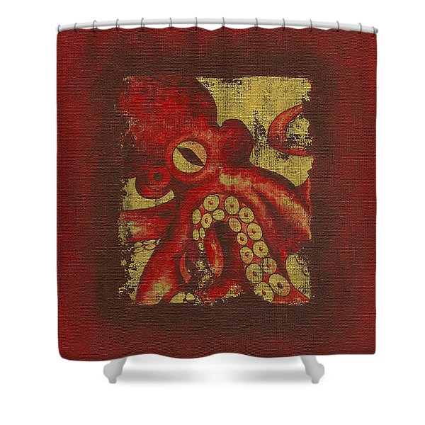 Giant Red Octopus Shower Curtain