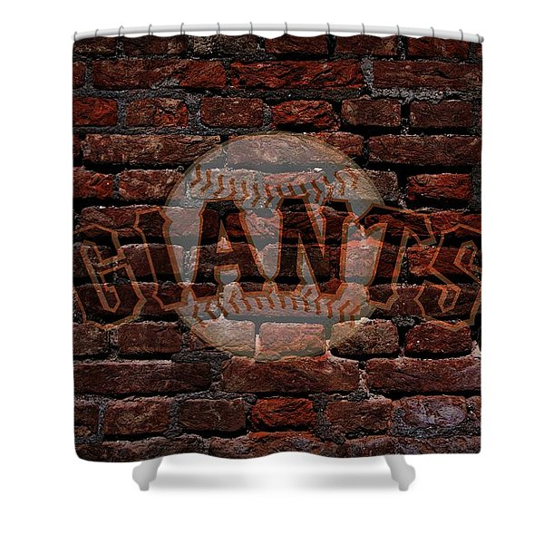 Giants Baseball Graffiti On Brick  Shower Curtain