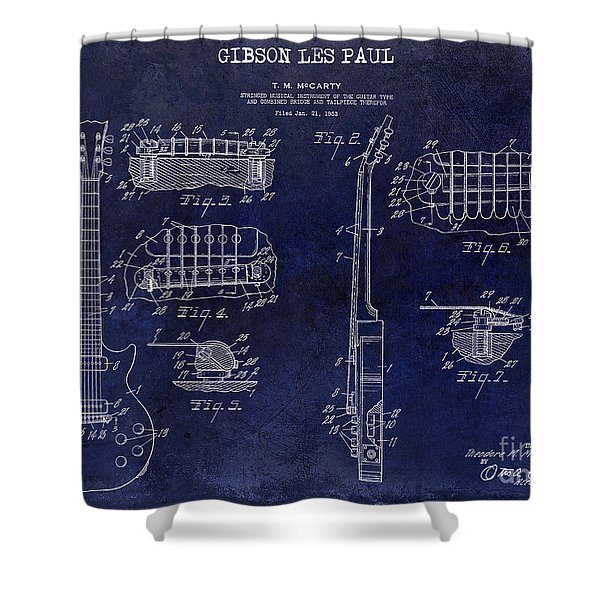 Gibson Les Paul Patent Drawing Blue Shower Curtain