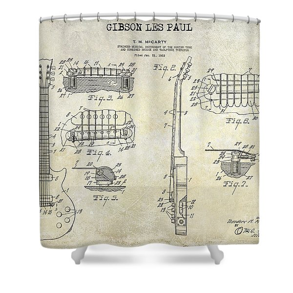Gibson Les Paul Patent Drawing Shower Curtain