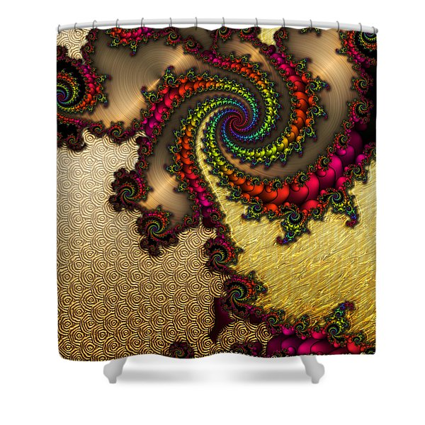 Gilded Fractal 10  Shower Curtain