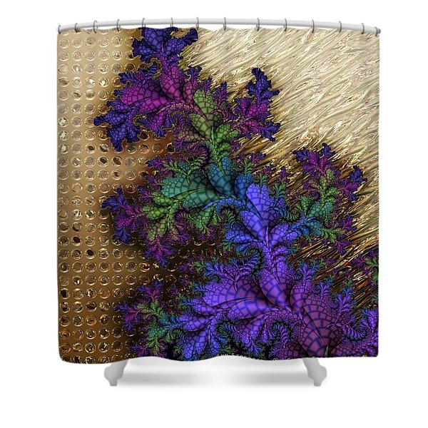Gilded Fractal 12  Shower Curtain