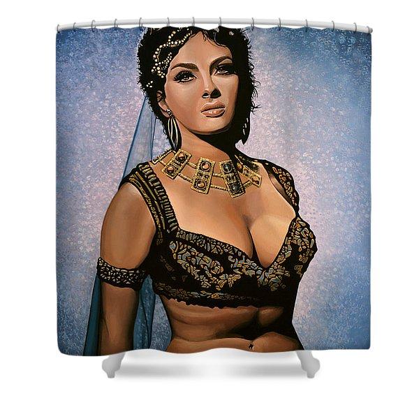 Gina Lollobrigida Painting Shower Curtain