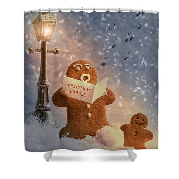 Gingerbread Carol Singers Shower Curtain