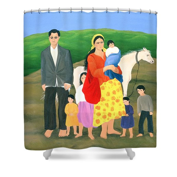 Gipsy Family, 1986 Oil On Canvas Shower Curtain