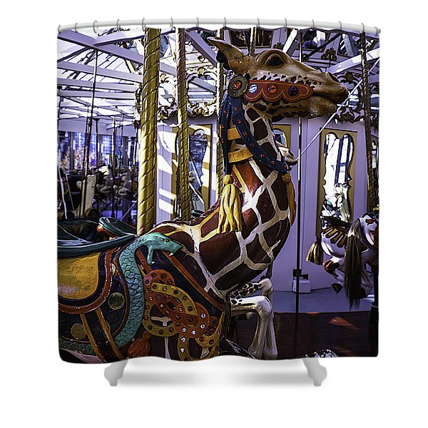 Giraffe Carousel Ride Shower Curtain